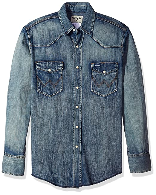 681259cba3 Wrangler Men s Motorcycle Denim Indigo Shirt