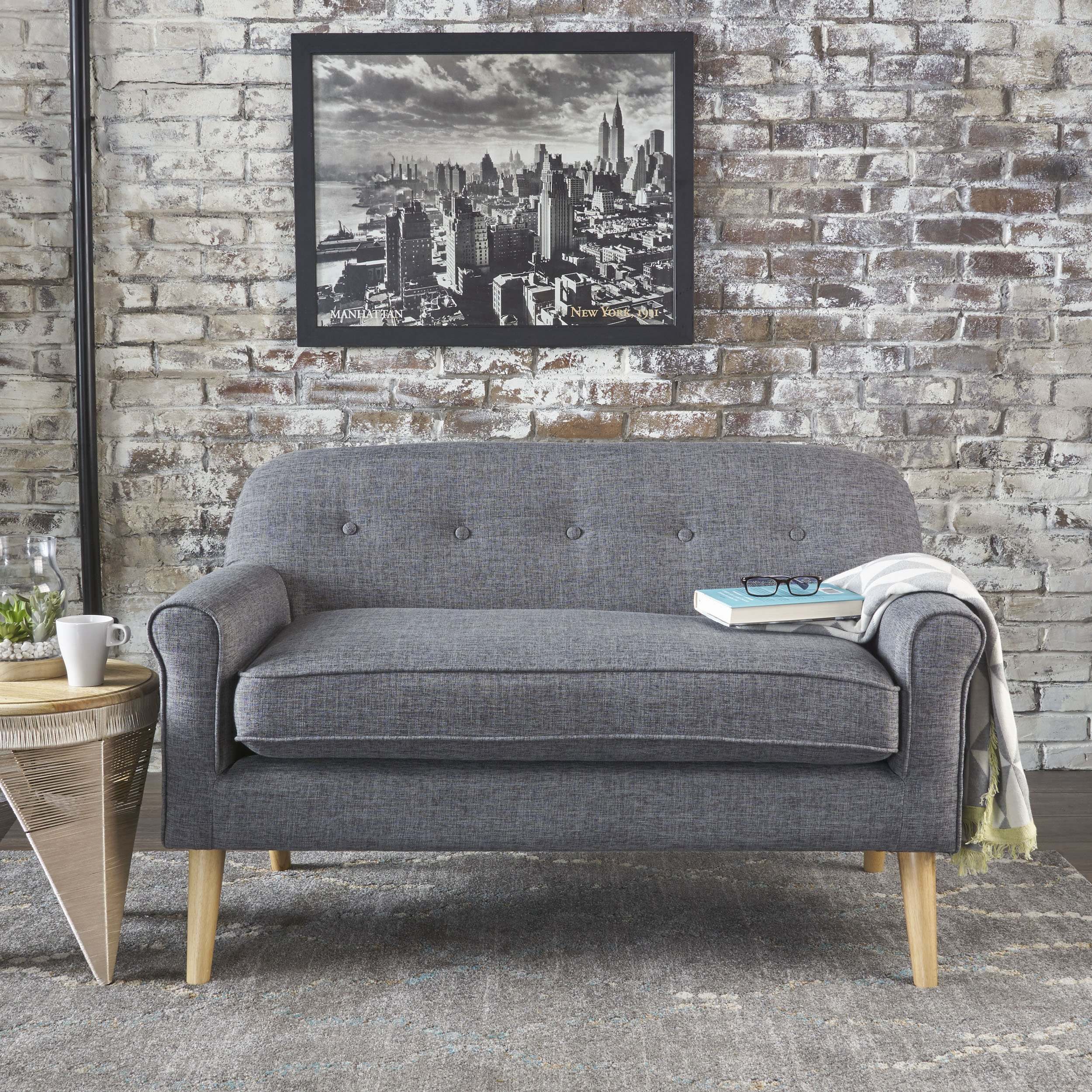 Christopher Knight Home Mariah Grey Mid Century Modern Loveseat by Christopher Knight Home