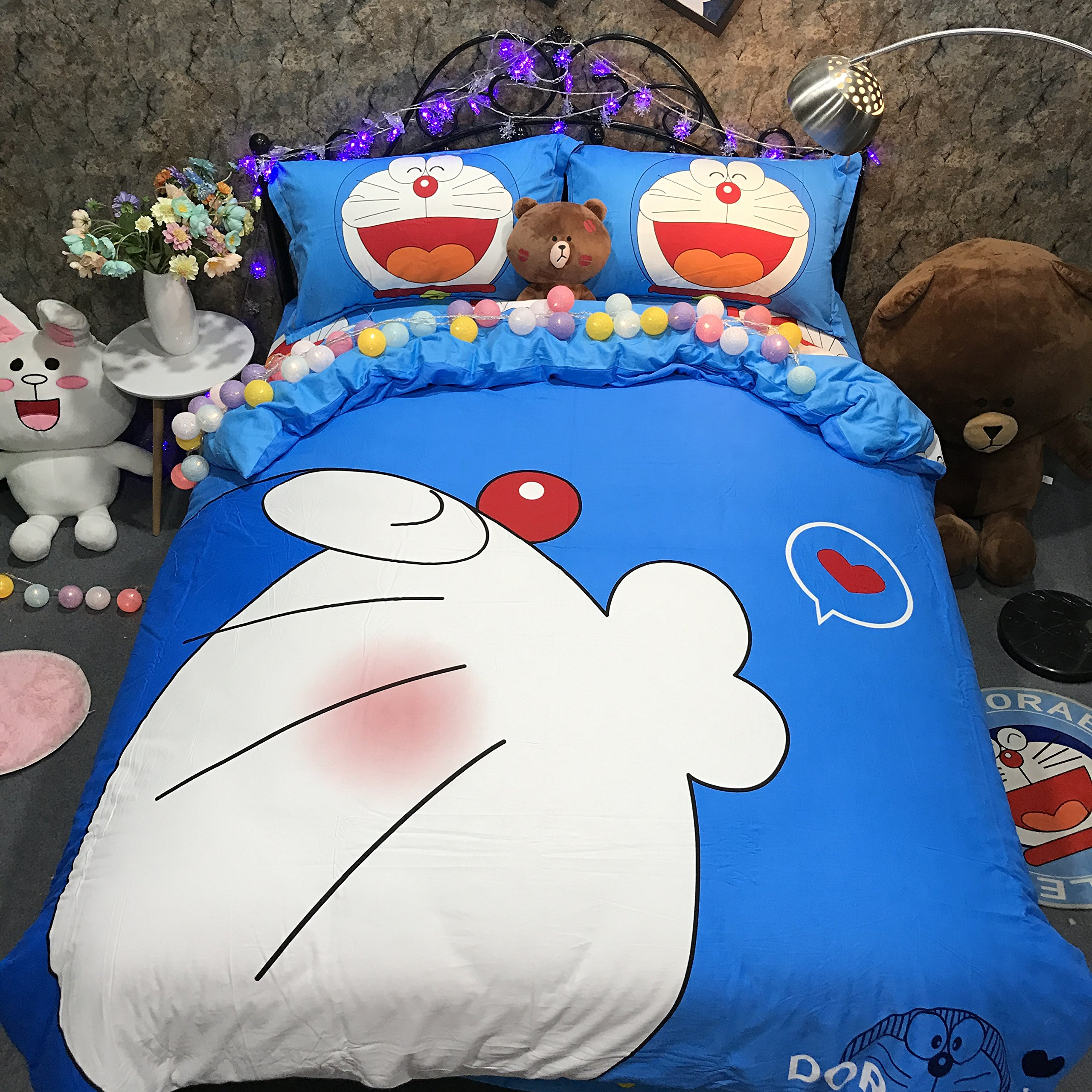 CASA 100% Cotton Kids Bedding Set Boys Girls Doraemon the First Duvet cover and Pillow cases and Flat sheet,Boys Girls,4 Pieces,King