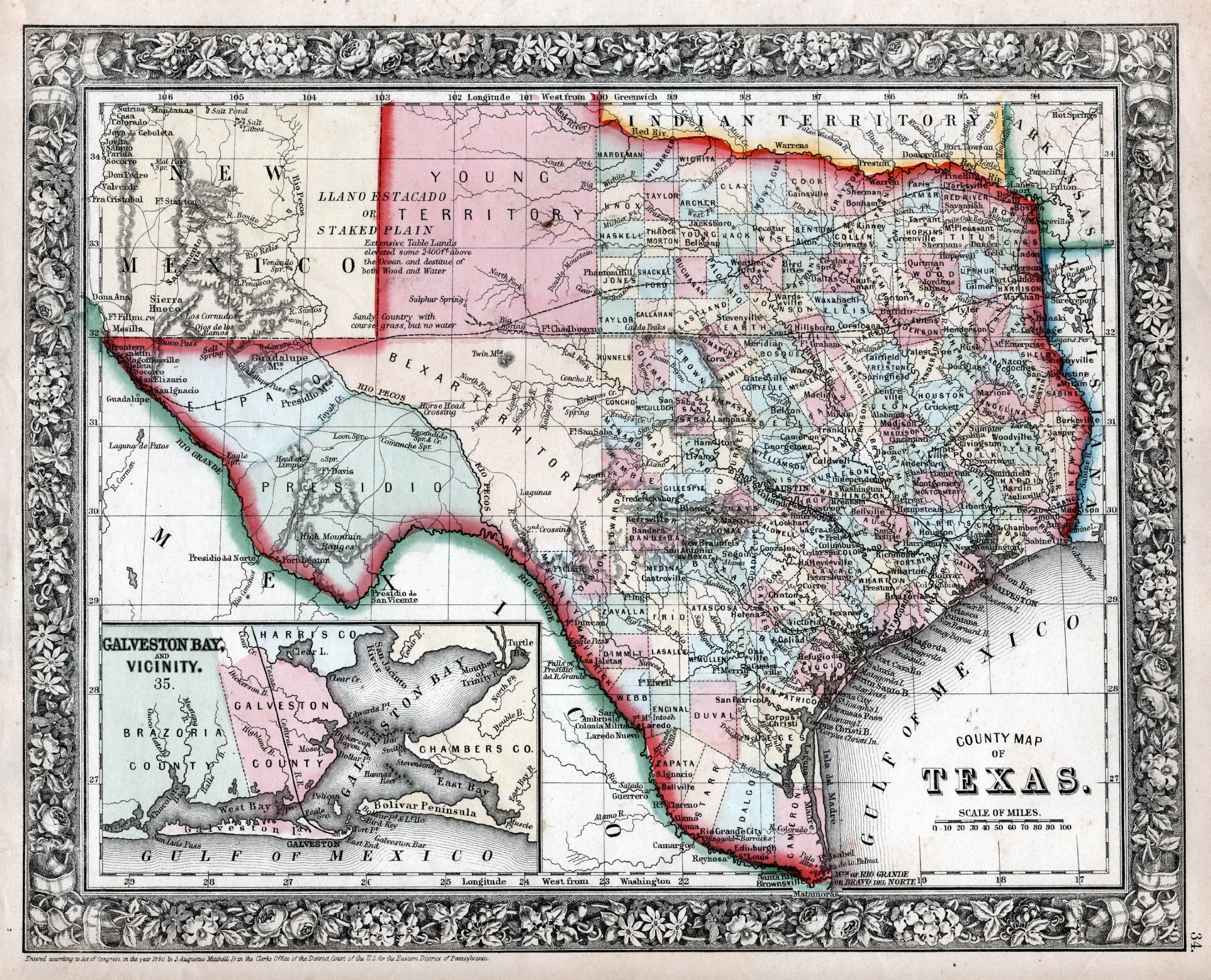 "1860 Texas Pre-Civil War S.A. Mitchell Map Print ~ 24"" x 36"" PDF"
