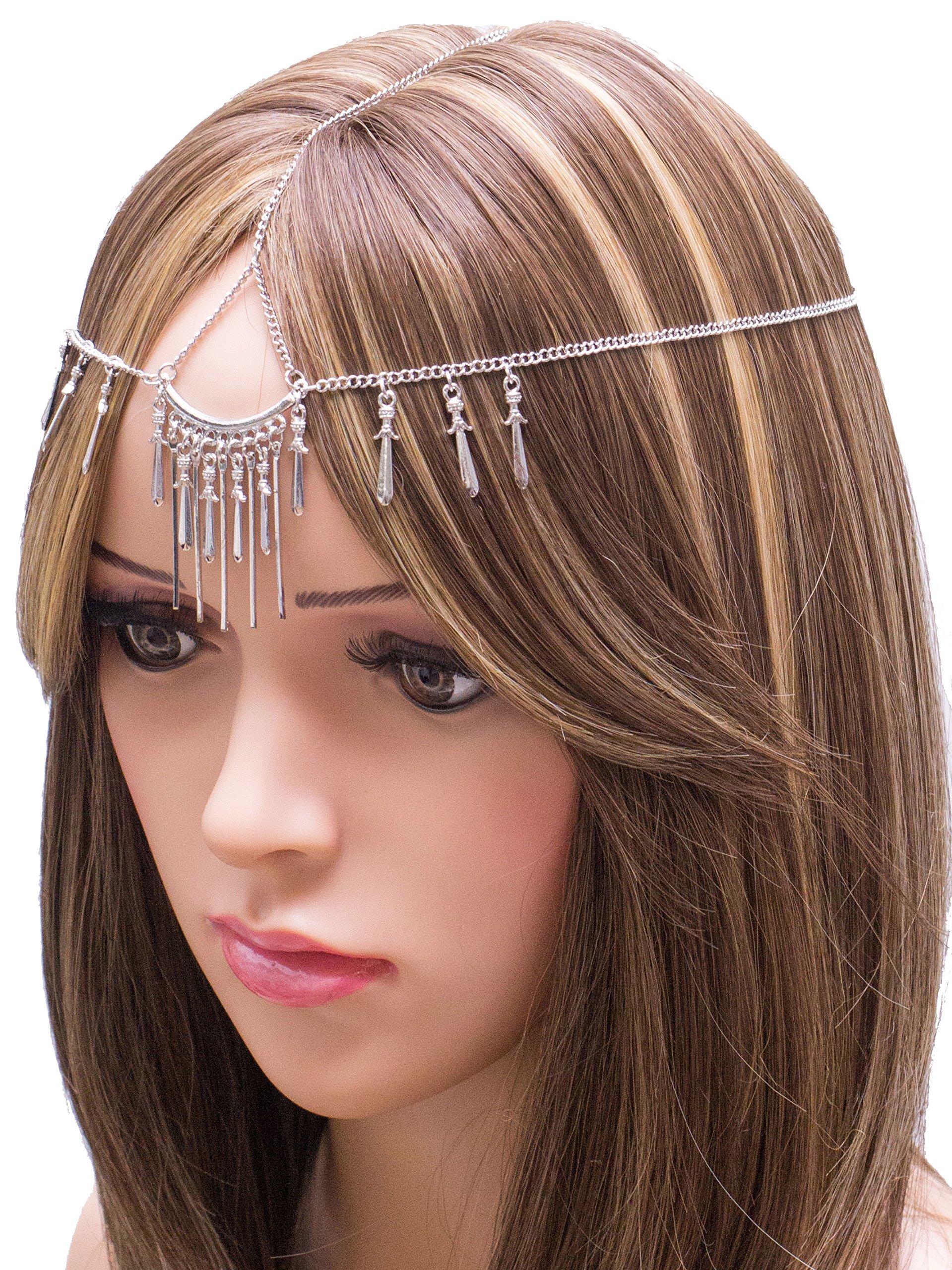 CH0217 - Beautiful Gold Plated elegant, bridal, wedding, bohemian head chain for Women (SILVER)