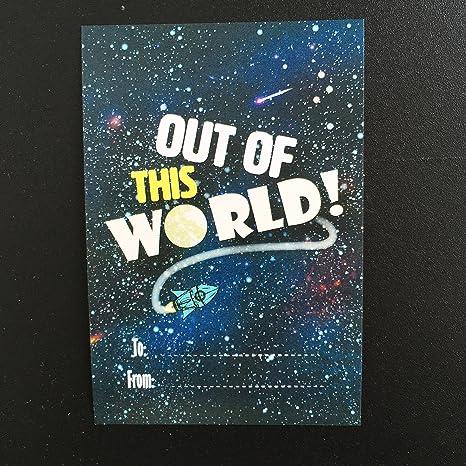 Paquete de 10 fuera de este mundo de espacio etiquetas de regalo para los niños