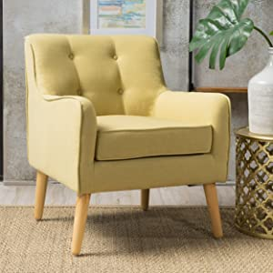 Christopher Knight Home 300568 Felicity Mid-Century Button Tufted Fabric Arm Chair, Wasabi