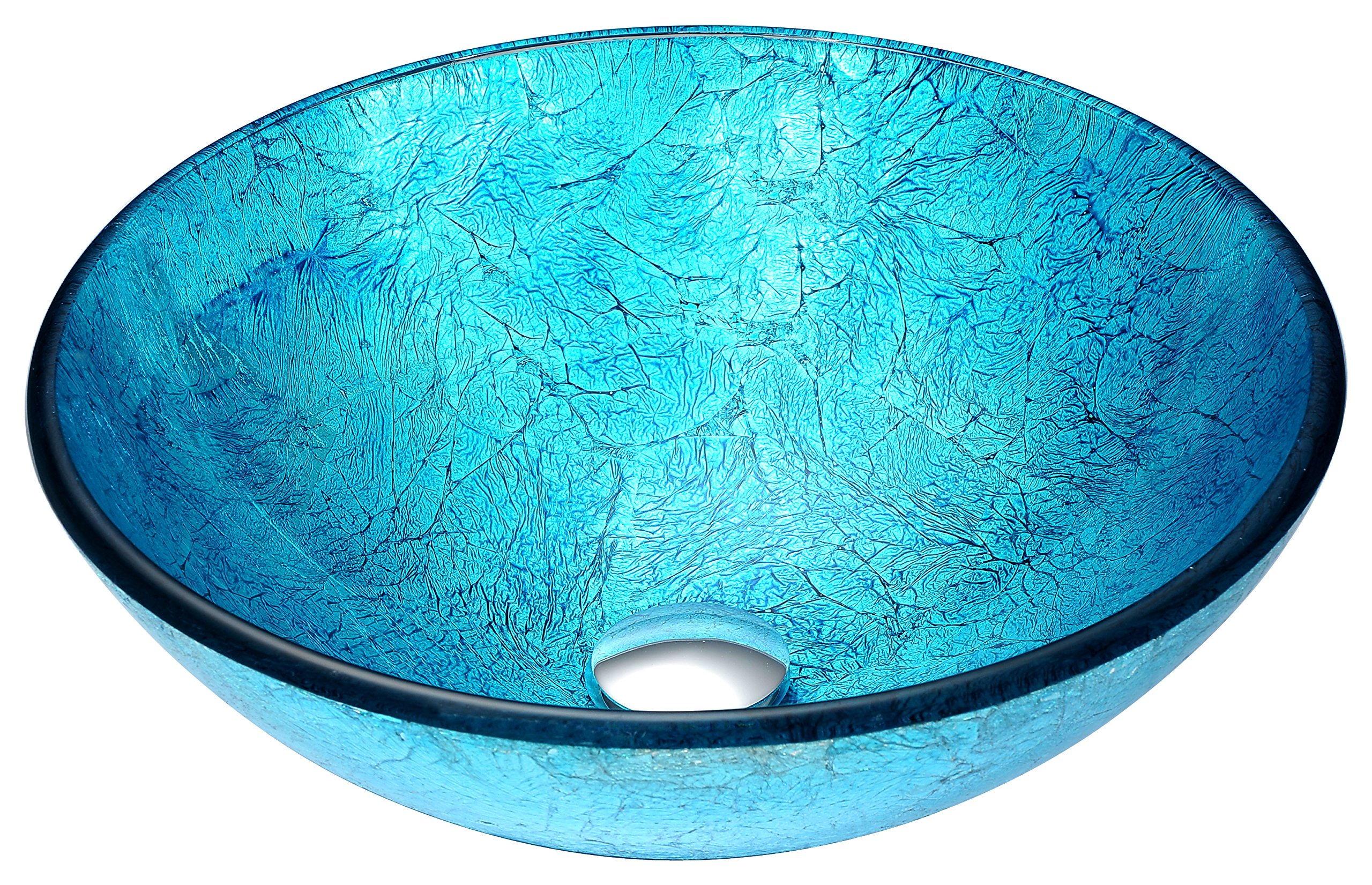 Tempered Glass Vessel Sink - Blue Ice - Accent Series LS-AZ047 - ANZZI by ANZZI