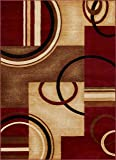 Well Woven Barclay Arcs & Shapes Red Modern