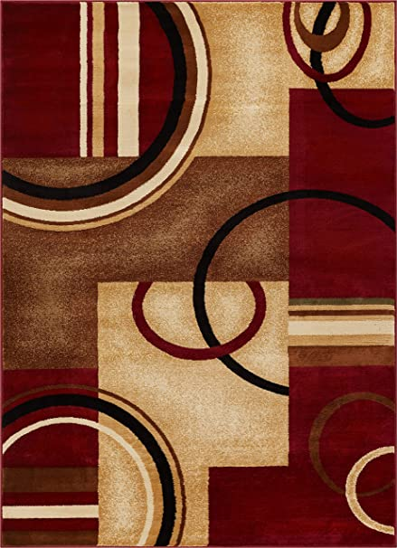 Well Woven Deco Rings Red Geometric Modern Casual Area Rug 5x7 53quot