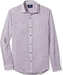 BUTTONED DOWN Men's Tailored Fit Casual Linen Cotton Shirt