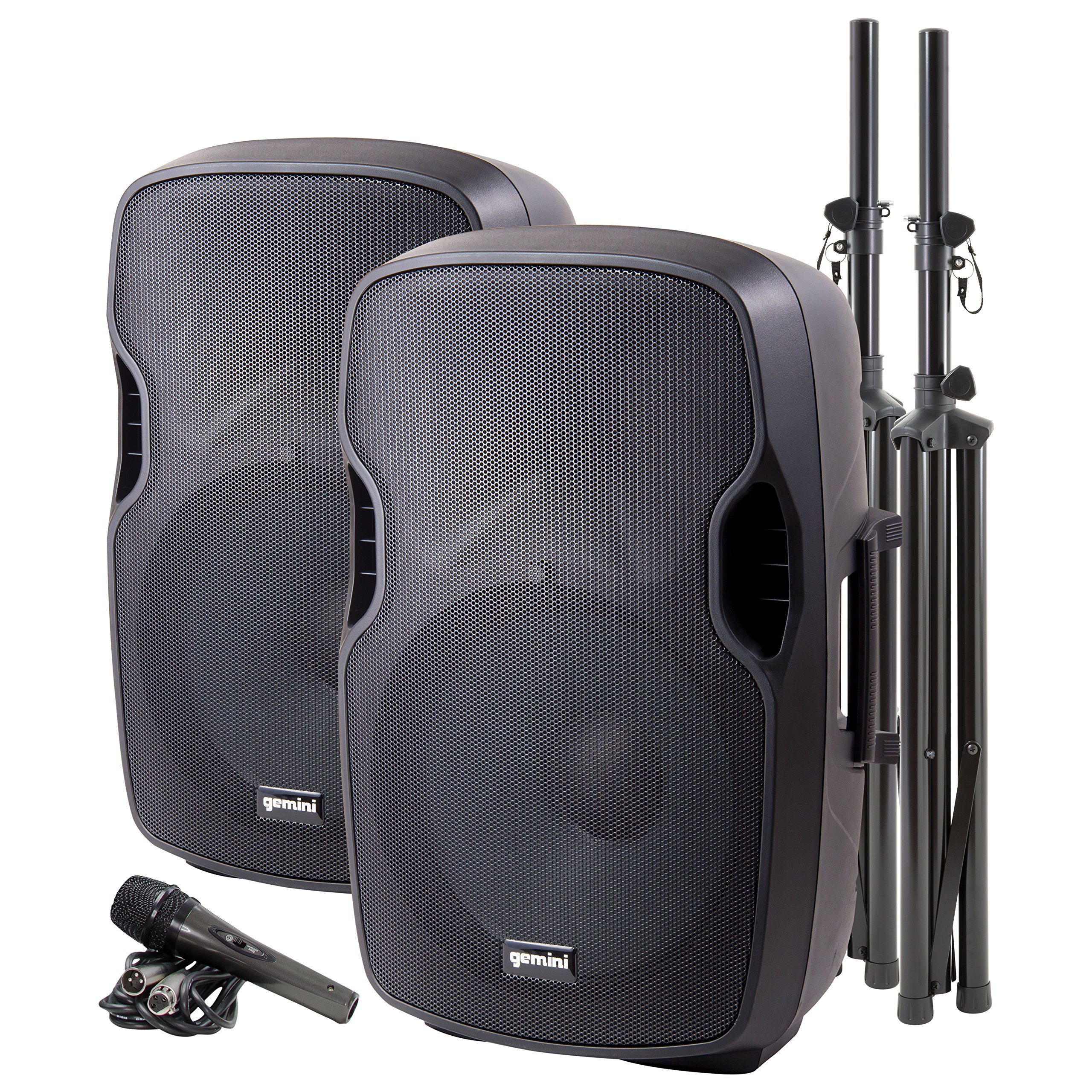 Gemini PA Series PA-SYS15 Complete Dual 15-inch Speaker PA Package with Included Speaker Stands and Microphone