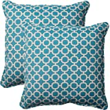 """Pillow Perfect Outdoor/Indoor Hockley Teal Throw Pillows, 18.5"""" x 18.5"""", Blue, 2 Pack"""