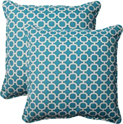 Pillow Perfect Outdoor Hockley Corded Throw Pillow, 18.5-Inch, Teal, Set of 2