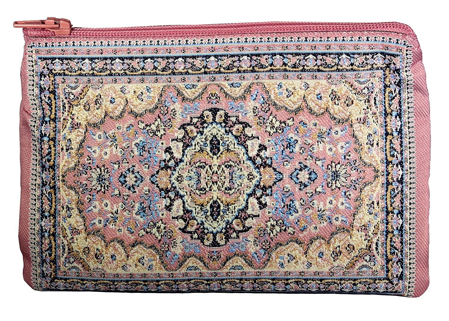 Unique Woman Coin Purse - Card Case - Floral Design - Fabric Oriental Rug (Turquoise) WovenRugs