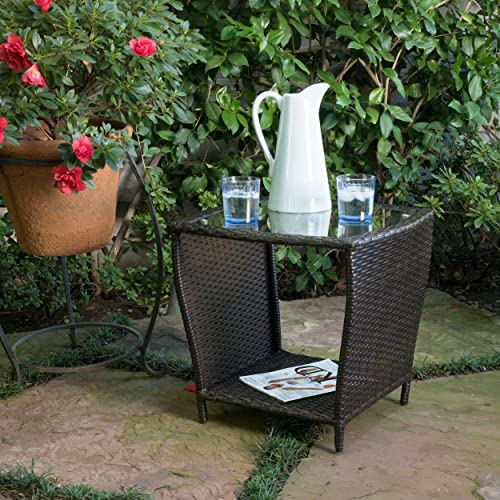 Christopher Knight Home Weston Outdoor Wicker Side Table with Glass Top, Multibrown