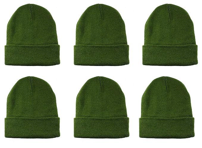 0d6ae6a81d5 Gelante Unisex Knitted Winter Beanie Hat 6 Pcs -20-2040-Army Green ...