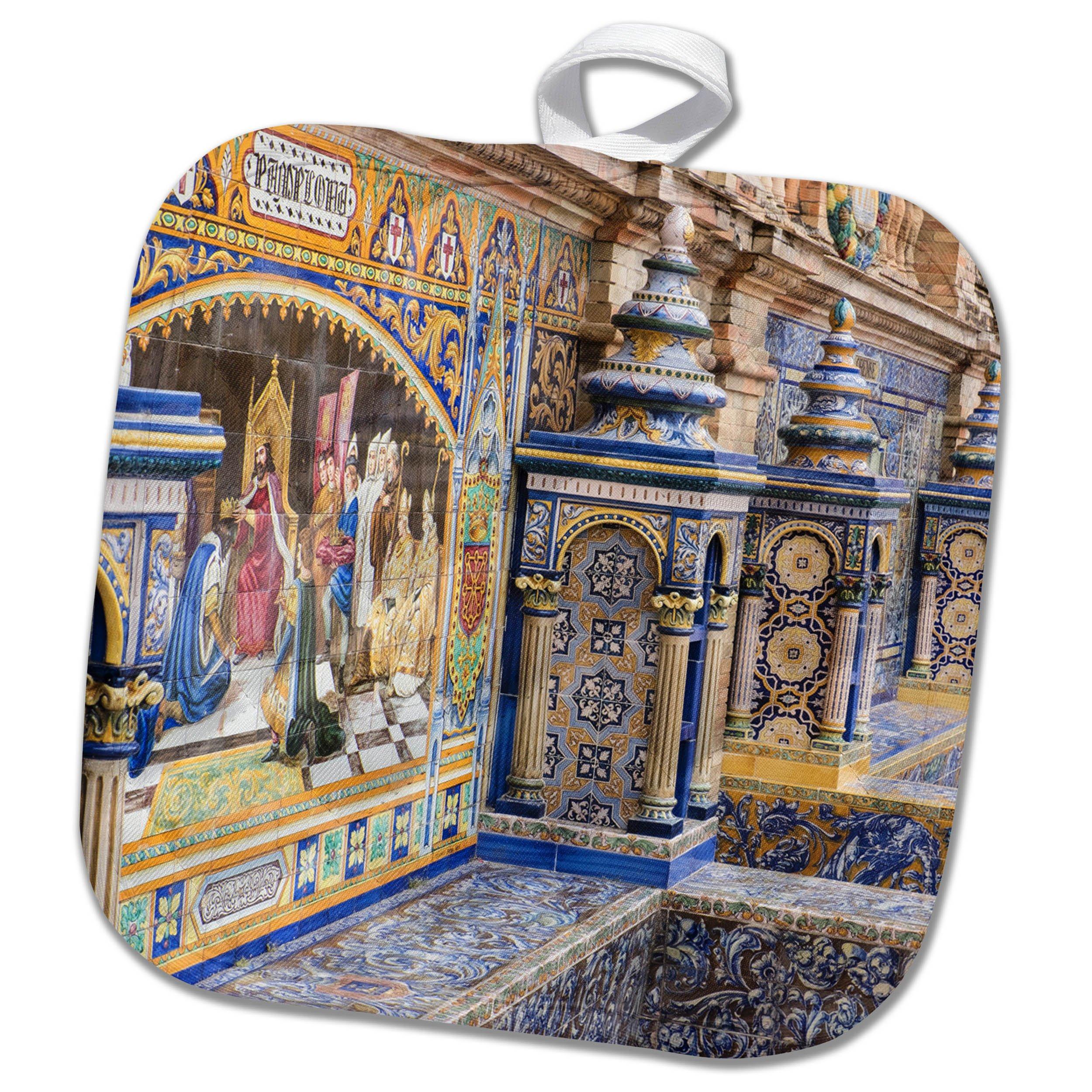 3dRose Danita Delimont - Spain - Spain, Andalusia, Seville. Traditionally decorated Plaza de Espana - 8x8 Potholder (phl_277896_1)