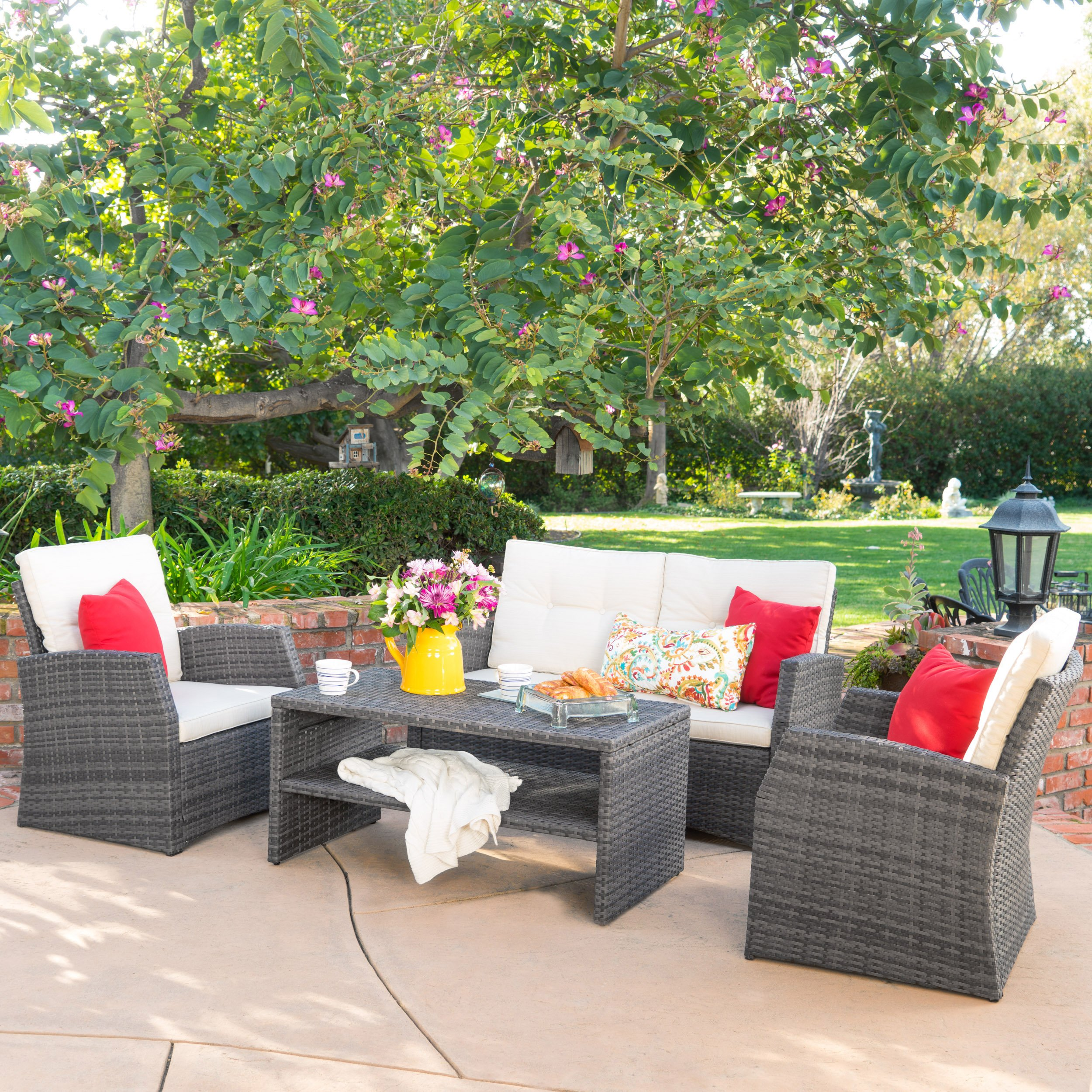 Roswell Outdoor 4pcs PE Wicker Sofa Seating Set w/ Cushions