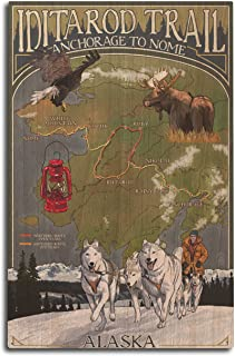 product image for Lantern Press Alaska - Iditarod Trail Topographic Map (10x15 Wood Wall Sign, Wall Decor Ready to Hang)