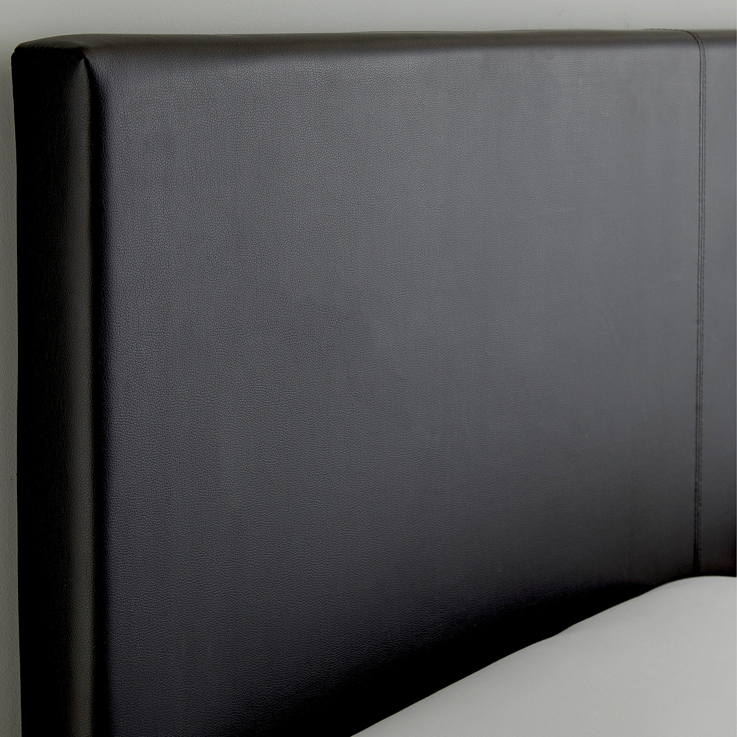 Flex Form Montana Upholstered Platform Bed Frame with Headboard: Faux Leather, Black, Full by Flex Form (Image #3)