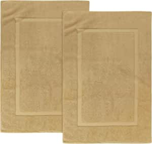 Utopia Towels Cotton Banded Bath Mats, Champagne [Not a Bathroom Rug], 21 x 34 Inches, 100% Ring Spun Cotton - Highly Absorbent and Machine Washable Shower Bathroom Floor Mat (Pack of 2)