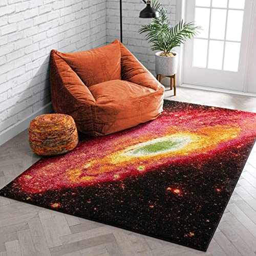 Well Woven Starburst Galaxy Multi Red Yellow Orange Swirl Lines Modern Geometric Abstract 8×10 7'10″ x 9'10″ Area Rug Easy Clean Stain Fade Resistant Contemporary Painting Art Thick Soft Plush