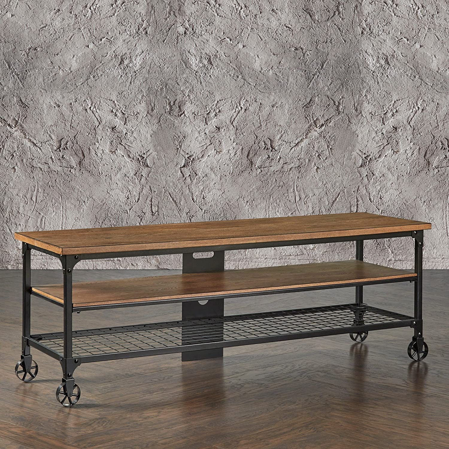 Amazon.com: Modern Industrial Rustic Riveted Black Metal & Wood TV Stand  with Decorative Wheels - Includes ModHaus Living (TM) Pen (65): Kitchen &  Dining