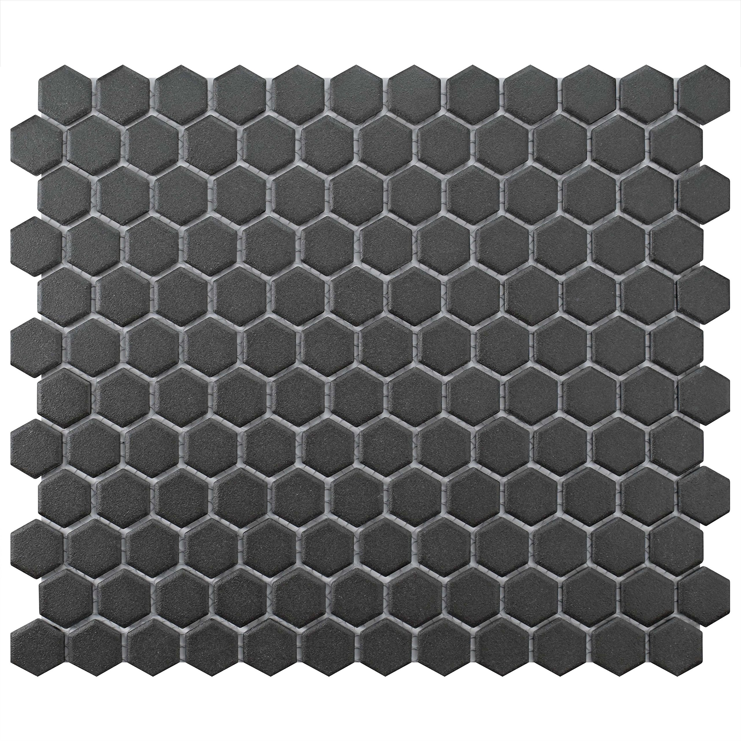 SomerTile FXLGHBK Antique Hex Porcelain Floor and Wall Tile, 10.25'' x 12'', Black