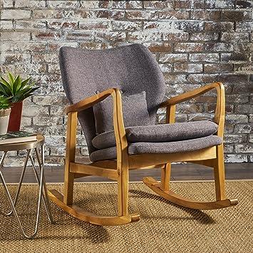 Amazon.com: Balen Mid Century Modern Fabric Rocking Chair (Grey): Kitchen U0026  Dining