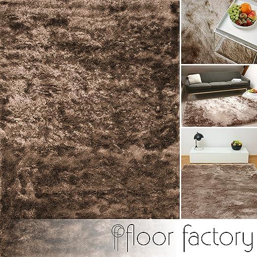 floor factory Tapis de salon Satin marron clair 140x200 cm - tapis shaggy  longues mèches