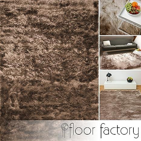 floor factory Tapis de salon Satin marron clair 120x170 cm - tapis shaggy  longues mèches