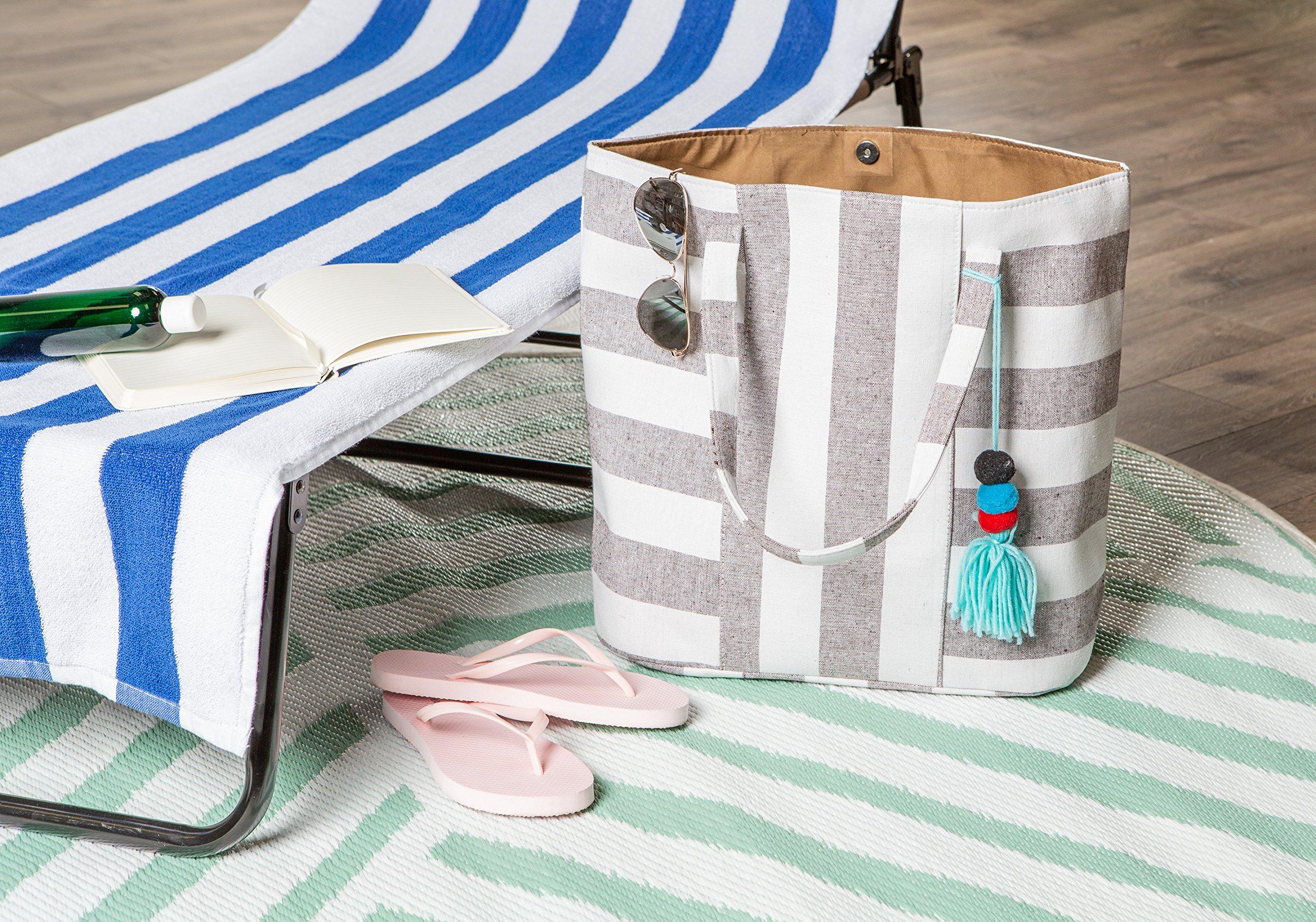DII Boho Stripe Beach Bag 16x20x7 Shoulder Travel Tote Black, Boho Stripe Brown by DII (Image #8)