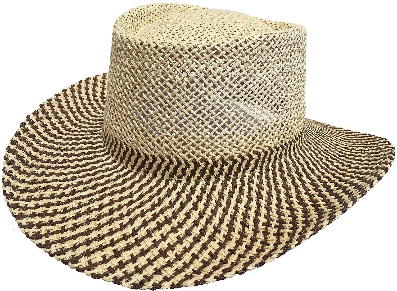 Amazon.com  Paper Straw Gambler Wide Brim 2 Tone Golf Hat (Natural Black  Golf Band)  Clothing 2faa13166b1