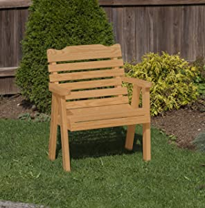 Amish Heavy Duty 800 Lb Classic Park Style Pressure Treated Garden Patio Outdoor Bench Chair 2 FEET Brown-Made in USA
