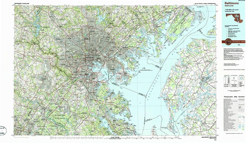 Amazon Com Yellowmaps Baltimore Md Topo Map 1 100000 Scale 30 X