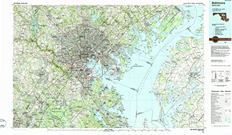 Amazon.com : YellowMaps Baltimore MD topo map, 1:100000 Scale, 30 X ...