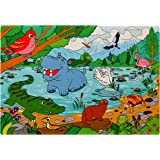 Peaceful Lake Jigsaw Foam Puzzle - 12x18 Inches Floor Mat - 54 Soft and Thick Pieces - Vibrant Image of Cute Wild Animals in Nature - Fun Birthday Gift for Kids Age 3-6 Years Old, by Premium Joy