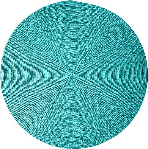 Boca Raton Polypropylene Braided Round Rug, 6-Feet, Turquoise