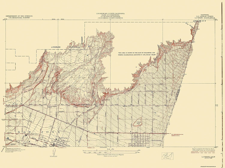 Amazon Com Topographical Map Print La Vern California Quad Usgs