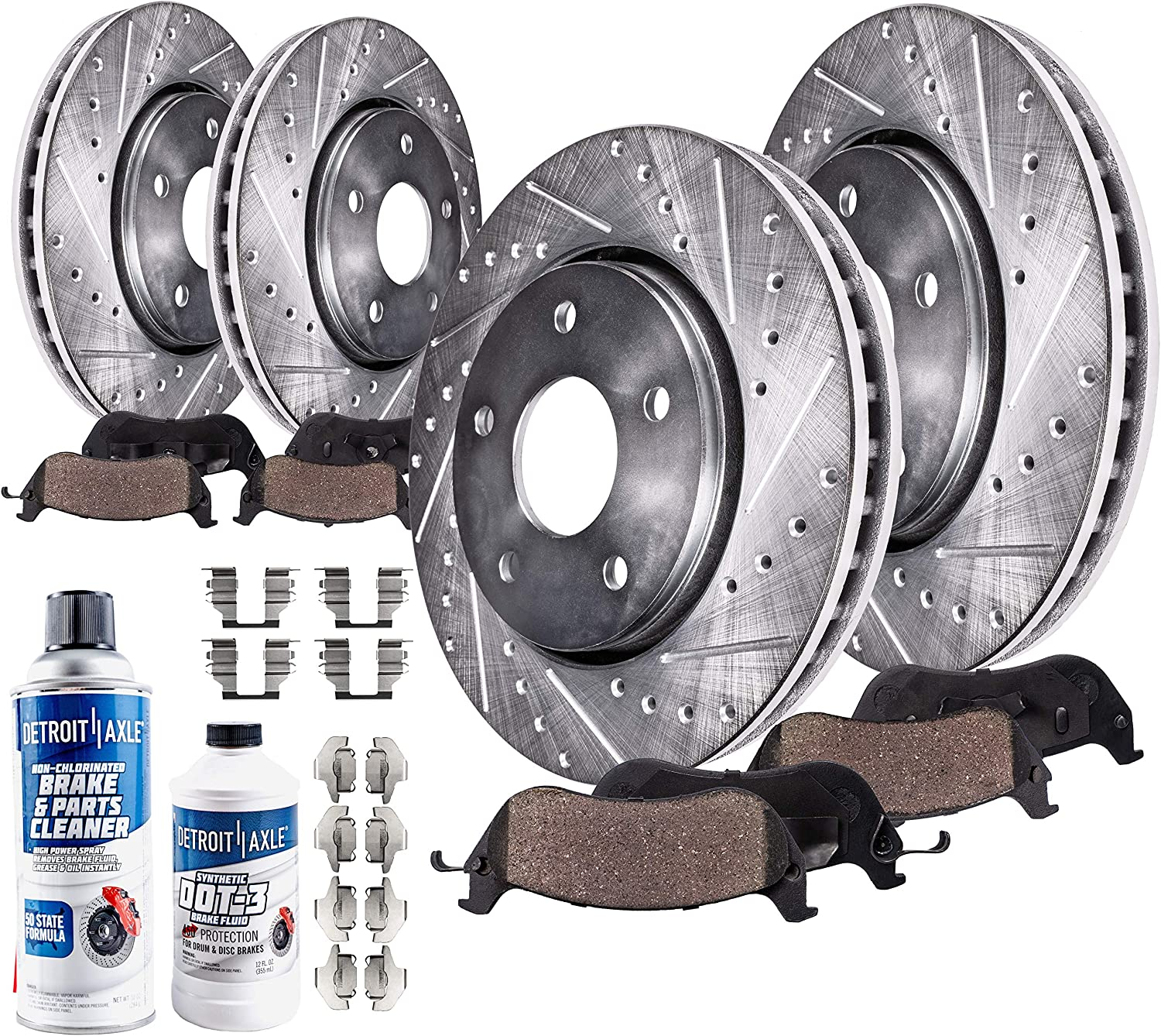 Front and Rear Black Slotted Brake Rotors /& Ceramic Brake Pads Sequoia,Tundra