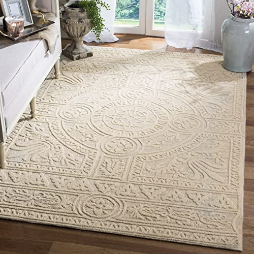 Safavieh Blossom Collection BLM109F Light Grey and Ivory Premium Wool Area Rug 8' x 10'