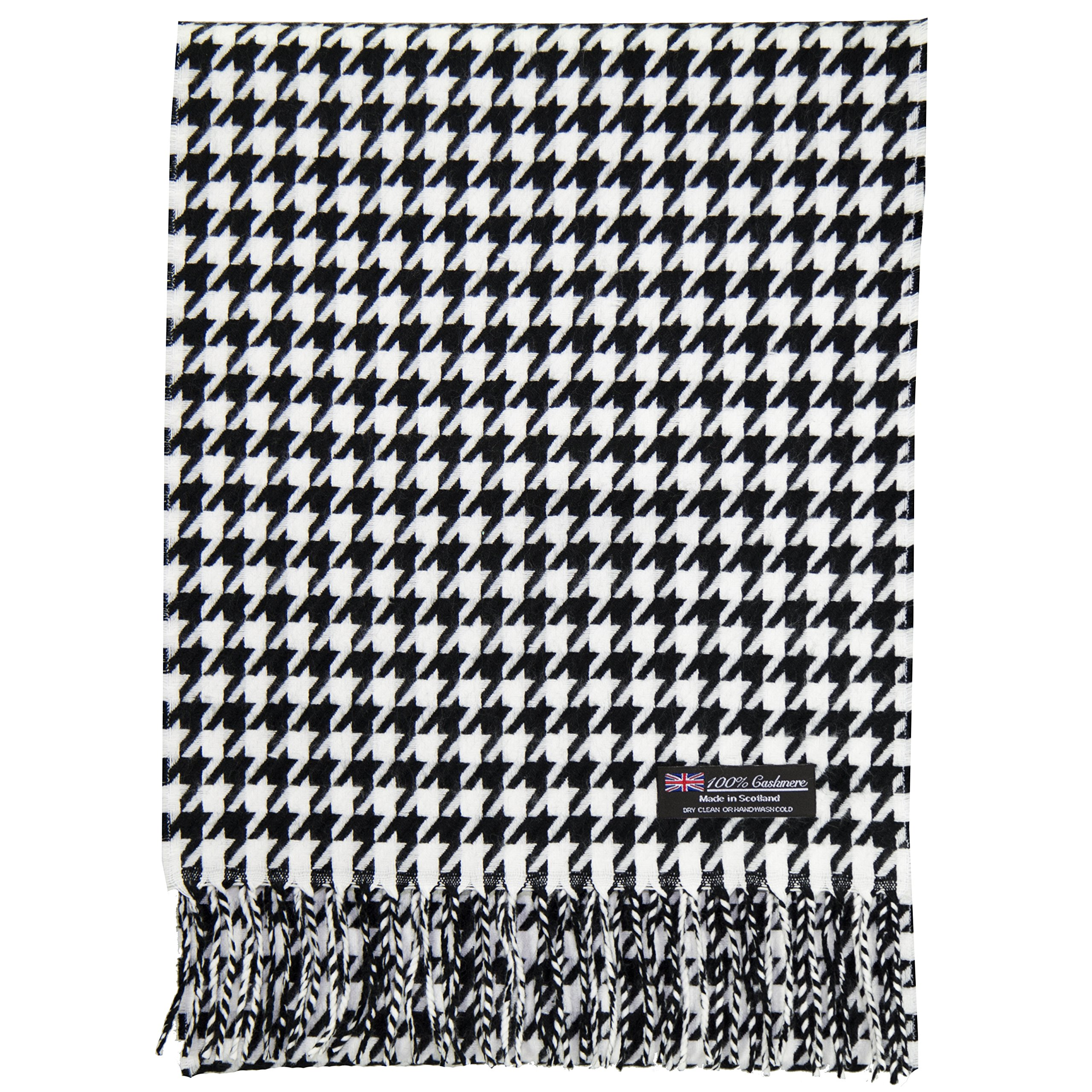 2 PLY 100% Cashmere Scarf Elegant Collection Made in Scotland Wool Solid Plaid (White Black houndstooth) by Cashmere Made in Scotland