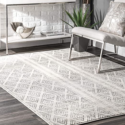 Amazon Com Nuloom Sarina Diamonds Area Rug 8 10 X 12 Grey