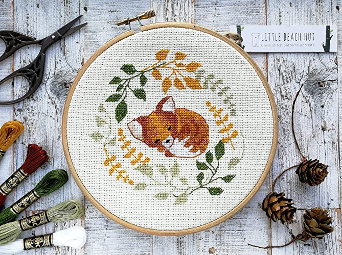Sleepy Fox Modern Cross Stitch Embroidery Pattern For Animal Lovers
