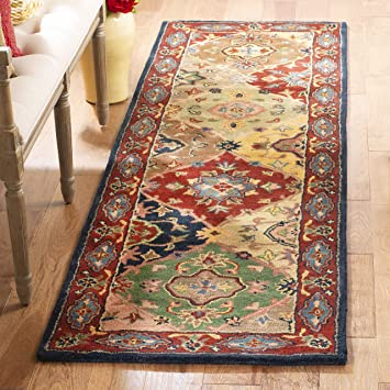 Amazon Com Safavieh Heritage Collection Hg926a Handmade Traditional Oriental Premium Wool Runner 2 3 X 10 Red Multi Furniture Decor