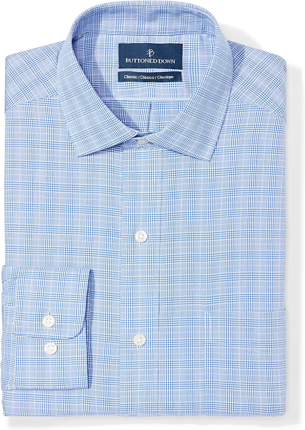 Brand - BUTTONED DOWN Men's Classic Fit Plaid Dress Shirt, Supima Cotton Non-Iron: Clothing