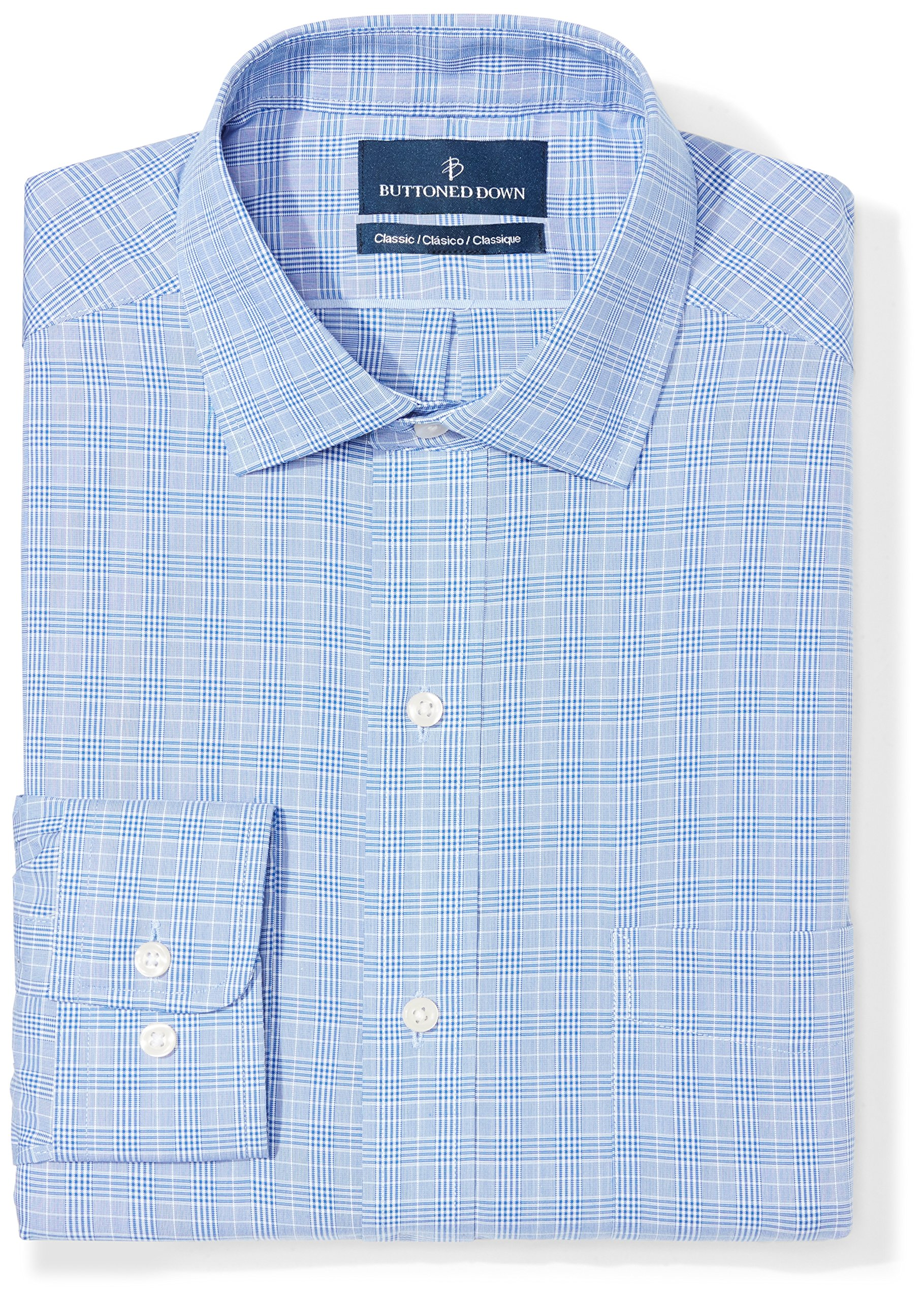 BUTTONED DOWN Men's Classic Fit Spread-Collar Non-Iron Dress Shirt, Blue Glen Plaid, 19'' Neck 39'' Sleeve (Big and Tall)