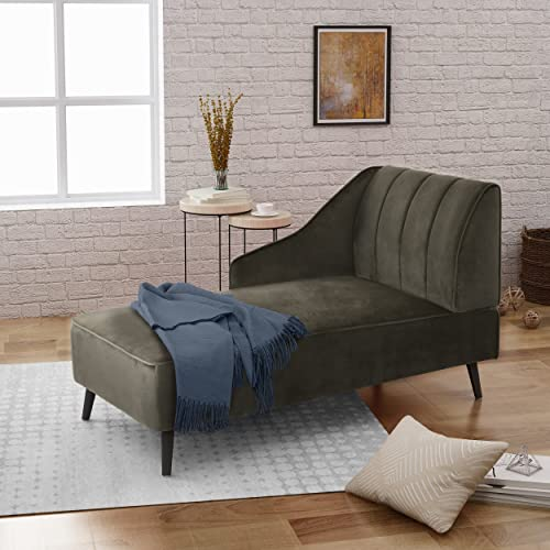 Christopher Knight Home Auley Glam Velvet Chaise Lounge, Grey Dark Walnut