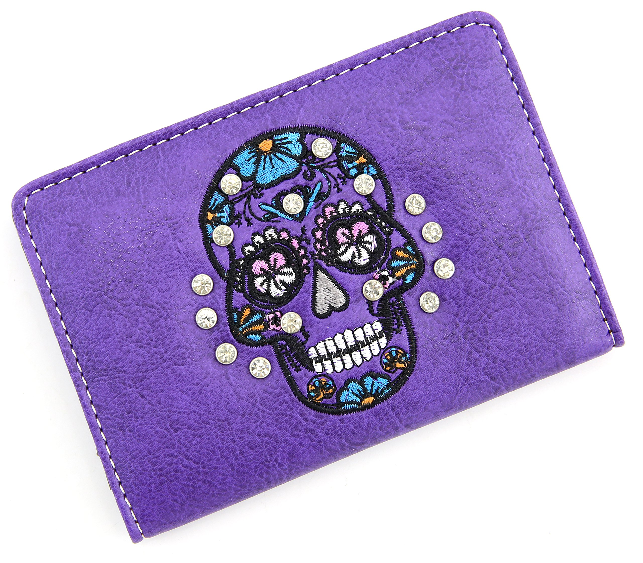 Travel Passport Holder Sugar Skull Cover Slim Id Card Case for Men & Women Travel Wallet Securely Holds Business Cards Credit Cards (Purple)