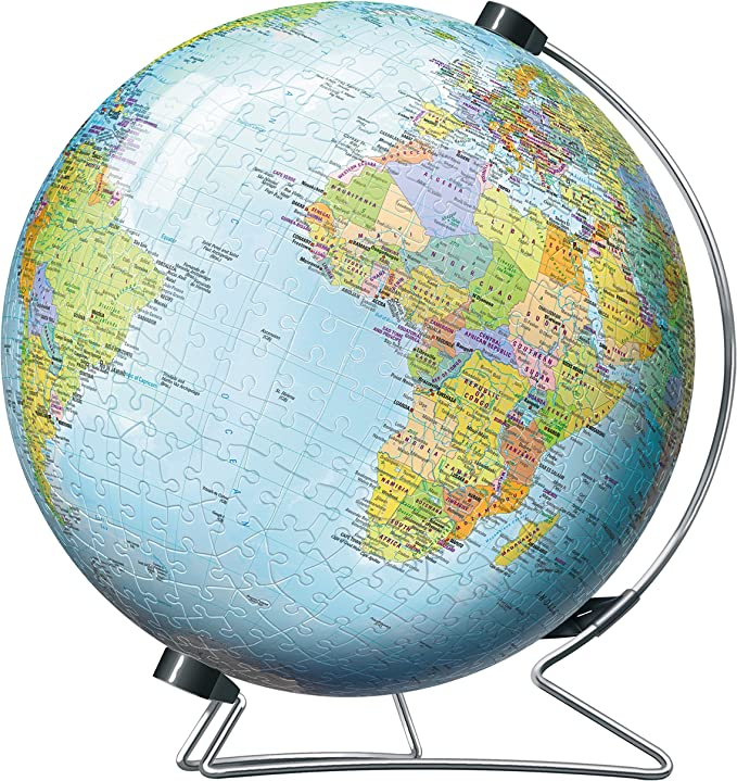 3D Globe Jigsaw Puzzle Toy 47PCS DIY Puzzle Board Toy for Children Mini Globe World Earth Ocean map Plastic Sphere Geography Learning Education Toys