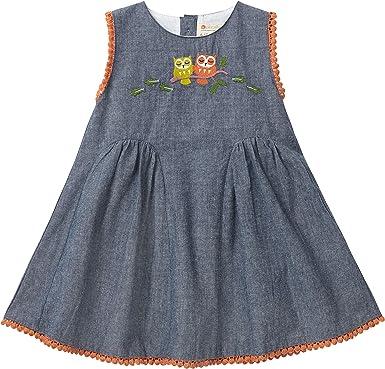 Piccalilly Pretty - Vestido de Fiesta para niña (algodón orgánico, Detalle de búho Bordado): Amazon.es: Ropa y accesorios
