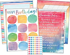 Teacher Created Resources Watercolor Classroom Essentials Chart Pack (6882)