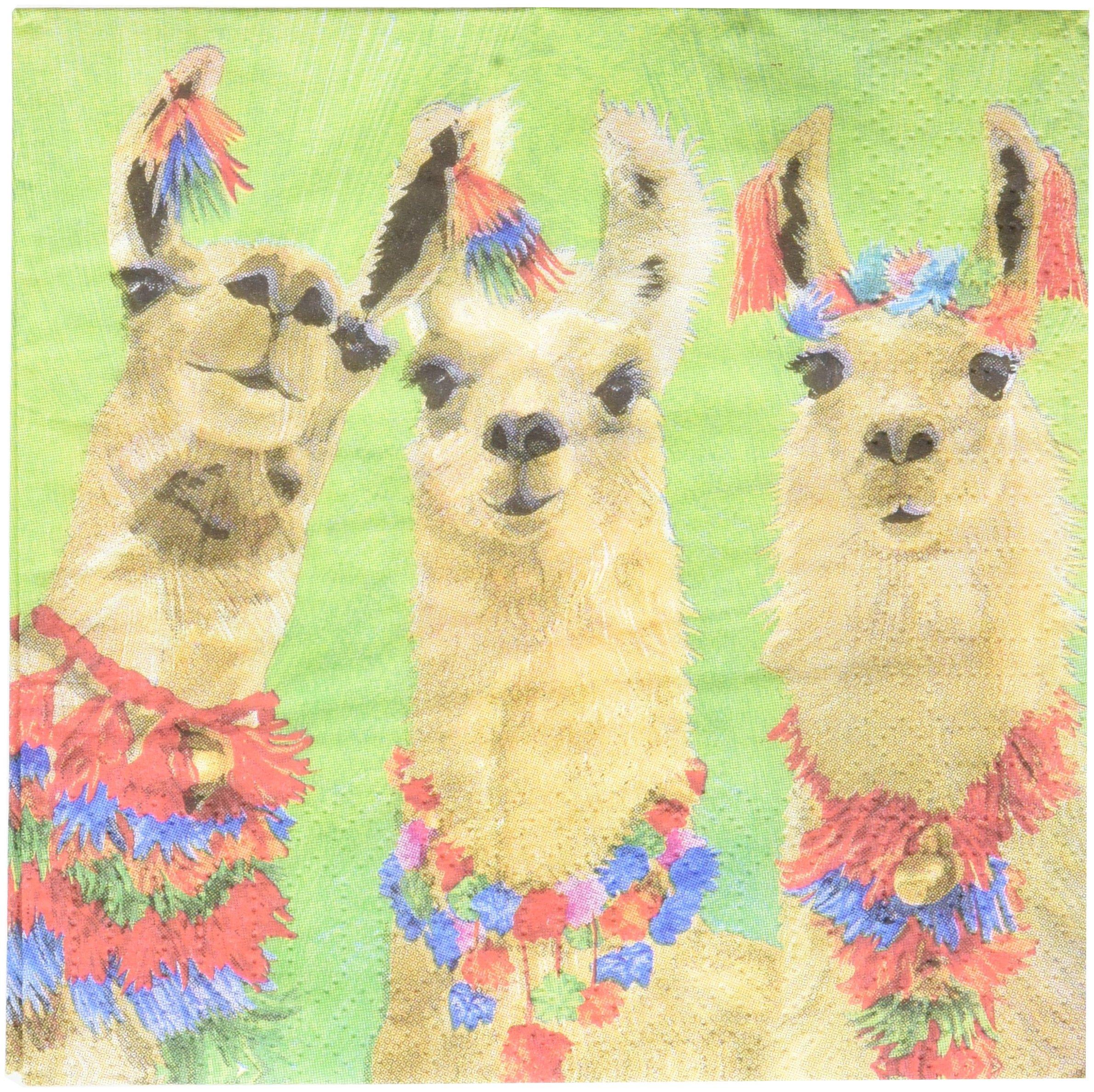 Paperproducts Design PPD 1252790 Llama Amigos Beverage/Cocktail Paper Napkins,5''x5'', Multicolor